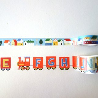 Railway Series masking tape Combo Pack : Letter train + Street houses