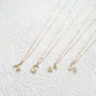 18K Yellow Solid Gold Mini Akoya Pearl Alphabet Dainty Adjustable Necklace