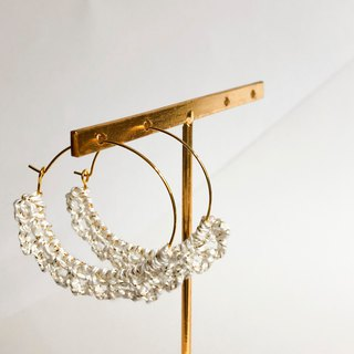 Bujielite- Crochet Gold Rounded Hoop Earring_with White thread