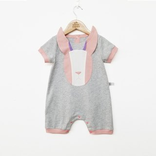 Create design rabbit three-dimensional shape patch baby summer short-sleeved coveralls baby bag fart clothing