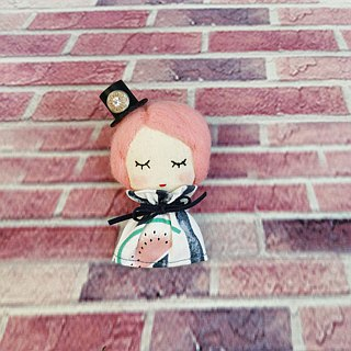 Handmade brooch- Little Girl With Pink Hair