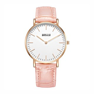 BAOGELA - MARINE Rose Gold White Dial / Pink Leather Watch