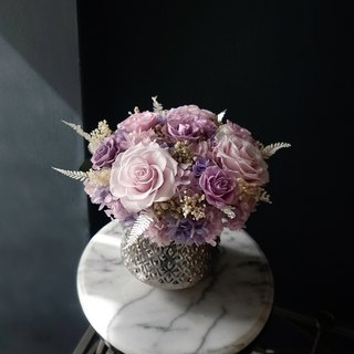 Opening Ceremony Purple Rose Rose Carnation Hydrangea Immortal Flower Not Withered Flower Silver Porcelain Table Flower