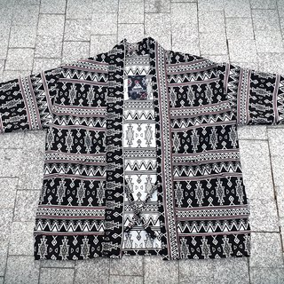 AMIN'S SHINY WORLD handmade custom KIMONO black and white ethnic totem jacquard hood coat coat