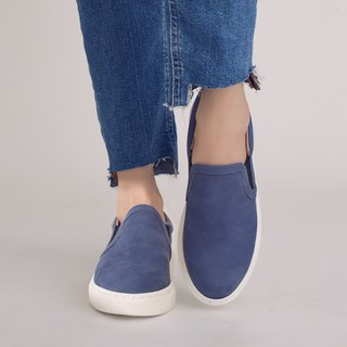 Strolling in the clouds! Light feathers memory relieves lazy shoes dark blue full leather Taiwan handmade