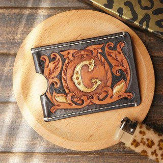 AT - handmade - C word leather engraving painted identification card / card sets / work permit sets
