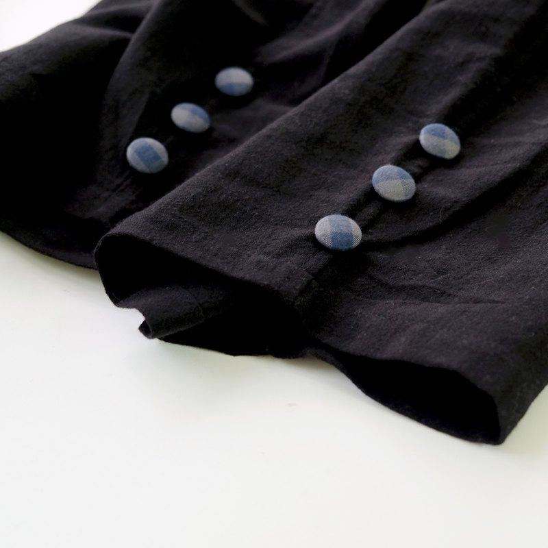 炭黑寬寬的格紋包釦錐形寬褲