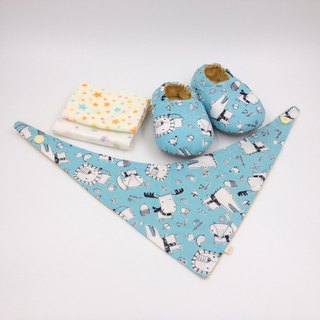 Scarf Animal Blue Bottom - Miyue Baby Gift Box (toddler shoes / baby shoes / baby shoes + 2 handkerchief + scarf)
