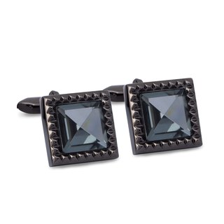 Square Gunmetal Crystal Cufflinks