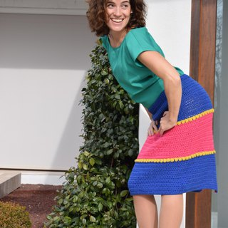 Colorful crochet skirt, handmade organic skirt, vintage style, gift for her