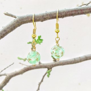 [Limited to Venice series] green cloud Italian imports Venice Murano (Murano) hand gold foil glass beads earrings can change ear clip