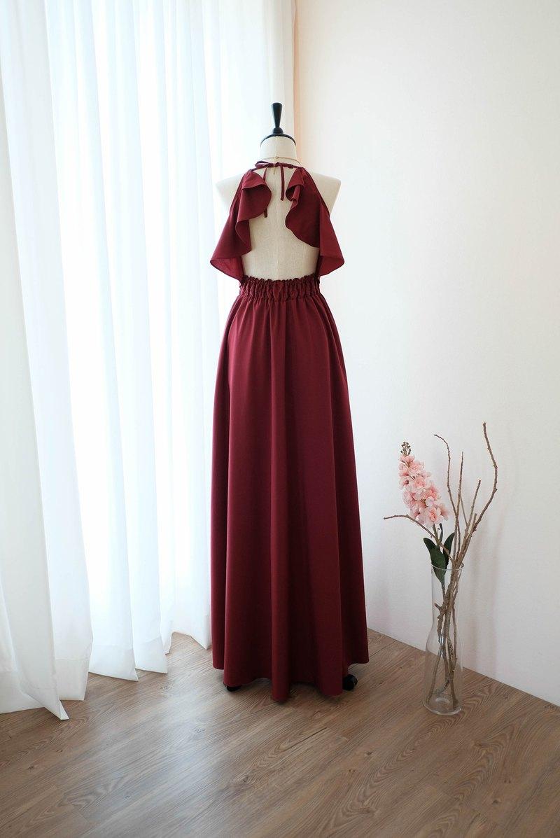 勃艮第連衣裙紅色禮服長款伴娘禮服雞尾酒舞會禮服