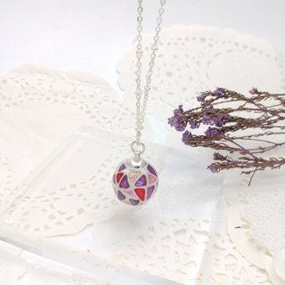 Painted Glass ball Necklace (L) with Metal chain