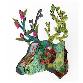 Italy MIHO gorgeous painted wooden deer head ornaments / wall decoration - medium size (Trophy Deer)