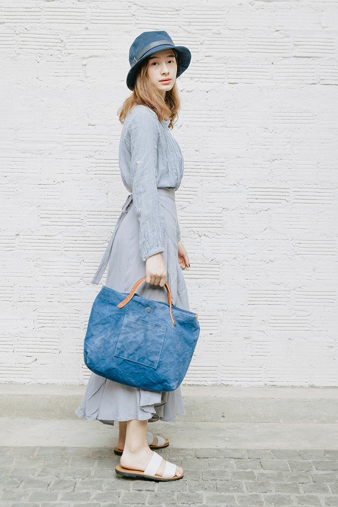 Indigo dyed canvas tote bag medium size