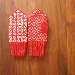 Traditional Latvian Pattern Mitten Red