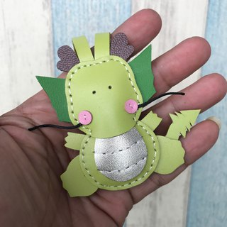 Leatherprince handmade leather Taiwan MIT green cute dragon hand-stitched leather strap small size small size