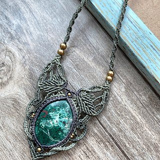 Misssheep-N66-National Wind South American Wax Line Braided Brass Phoenix Stone (矽 Malachite) Necklace