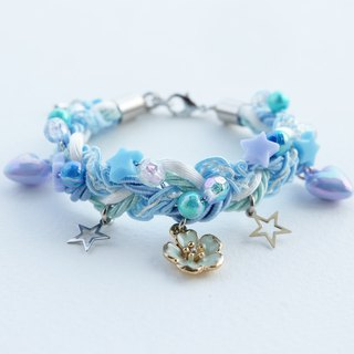 Blue sakura braided bracelet