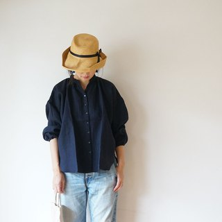 Linen gather blouse ladies NAVY