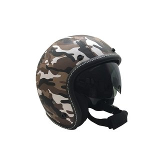 Fake leather with camouflage helmet 3/4 hood