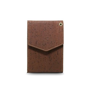 CORCO simple hanging soft cork wallet - cool dark brown (including lanyard)