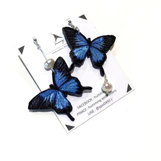Embroidery earrings <Embroidered Earrings> 925 Sterling Silver / Butterfly Series