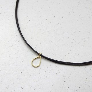 Wax line necklace brass mini water droplets plain simple wax rope thin line