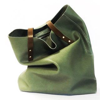 Green genuine leather tote/shopper bag