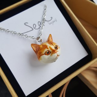 3D Print ~ Hand-painted cat (Medium Size Charm) with metal necklace