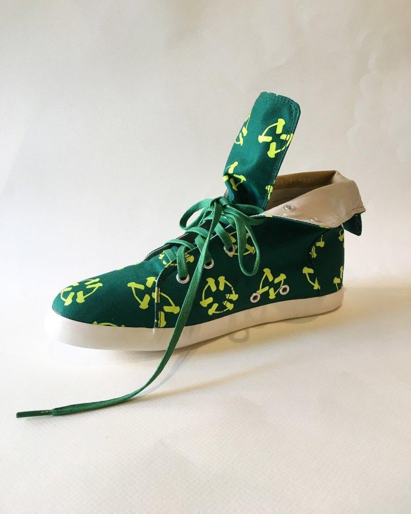 圓形蝴蝶與花款 No3 / 靴型帆布鞋 / 短靴