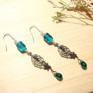 Grapefruit forest handmade glass - want to go to see the stars together - lake green - long earrings (can be changed to clip