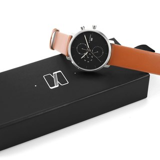 Minimal Watches : MONOCHROME CLASSIC - ONYX/LEATHER  (Orange)