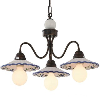 Country style ceramic plate 3 lamp chandelier
