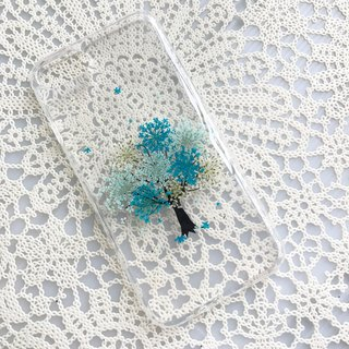 iPhone 7 Handmade Pressed Flowers Case Blue Tree case 008