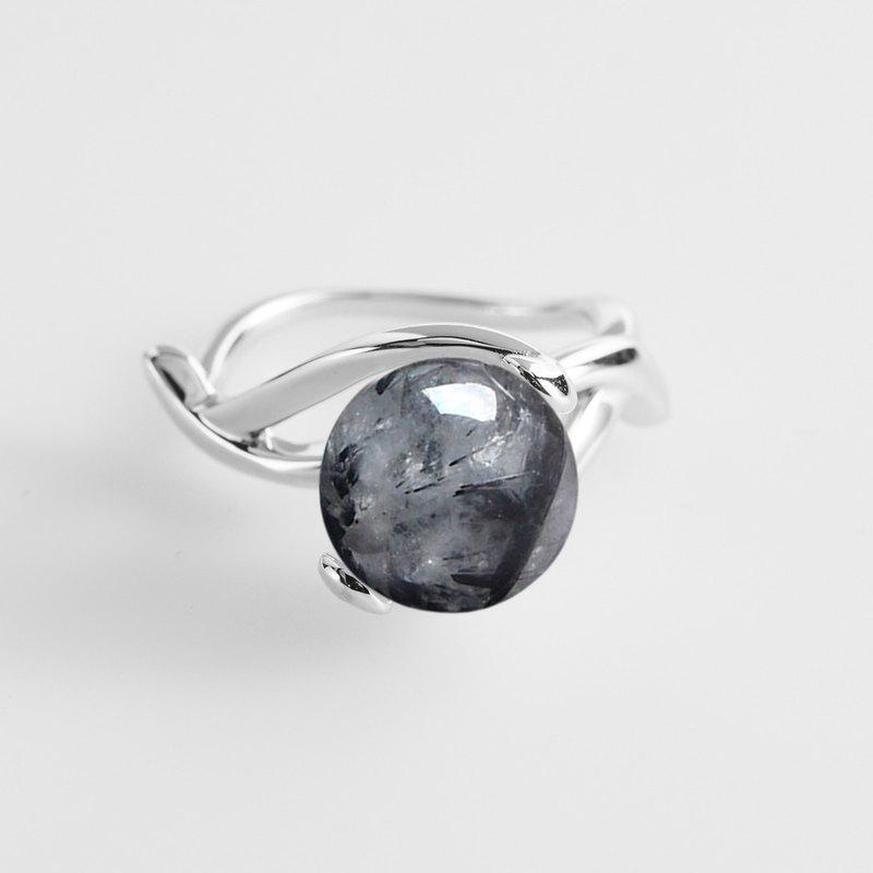 Promise Ring Designs | Rutilated Quartz Wedding Ring Grey Stone Engagement Ring Gemstone