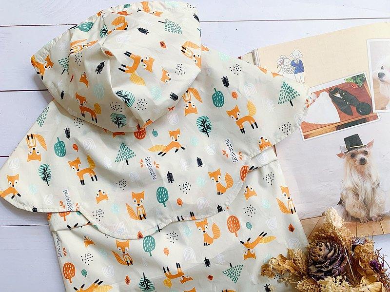 可愛狐狸 三件式花朵雨衣 (現貨L
