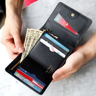 PLEPIC leather tri-fold short wallet - black, PPC93686