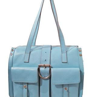 ITA BOTTEGA【Made in Italy】Litchi leather light blue shoulder bag
