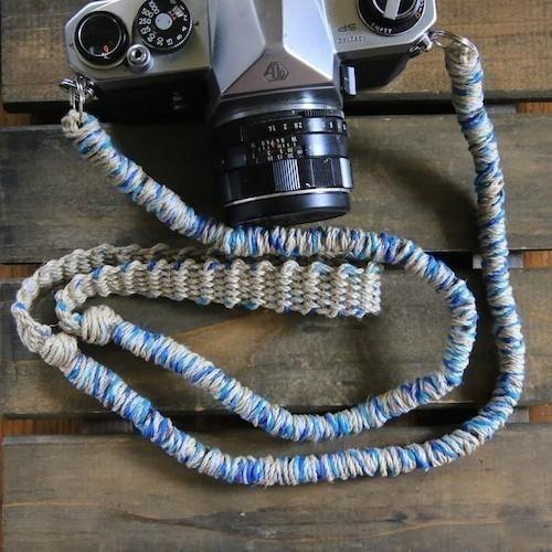 MIX hemp camera strap blue / double ring