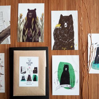 "Postcard 4x6"" Bear & Bird set 6 pcs."