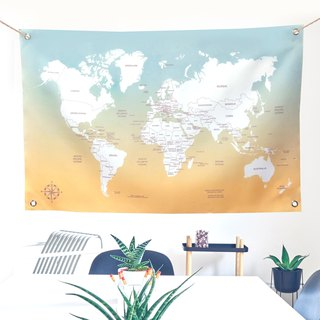Customized World Map Fabric Blue Hawaii