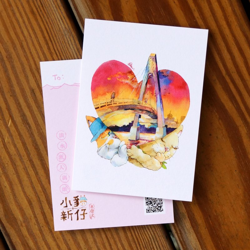 Kitty New Waves Travel Notes Series Postcard - Tamsui Fisherman's Wharf