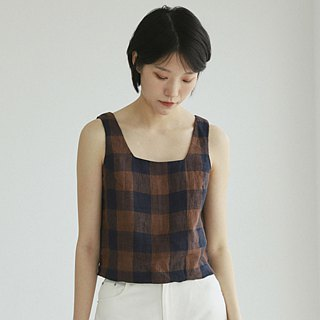 Plaid love dew clavicle square collar control retro word square collar sleeveless shirt square back muscle line linen cotton