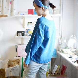 Planet / Kitten / Wave Cotton Blue Wide Long Sleeve Top