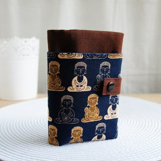 Lovely [Buddha bless travel passport set, book cover 10X14cm] coffee & dark blue bottom