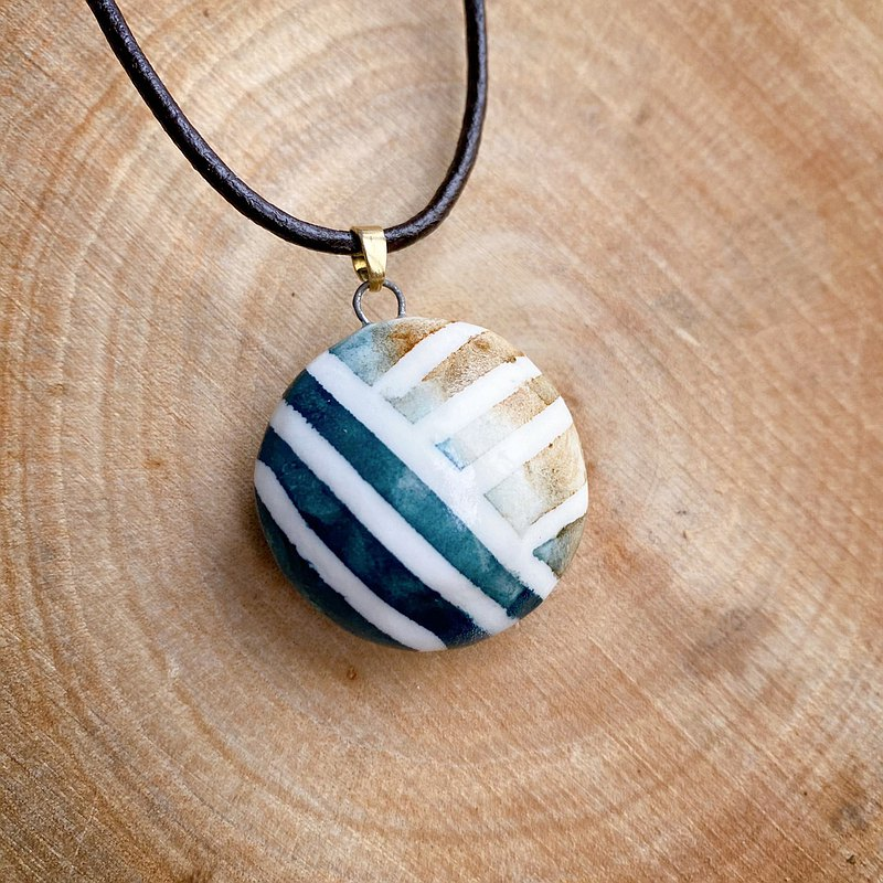 Handmade White Porcelain Perfume Essential Oil Necklace Blue Sea and Sand X Classic Stripes