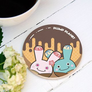 【Plump Planet Friends】Ceramic Coasters | Chocolate Planet