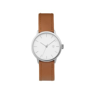 Khorshid Mini Series Silver White Dial Honey Brown Leather Watch