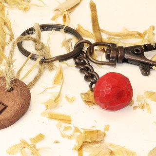 Cute wooden round apple key ring (with small pottery card)--woodcut--handmade - hand made [can pick color]